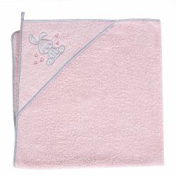 Cebababy rankšluostis su gobtuvu 100x100 rožinis, kiškis