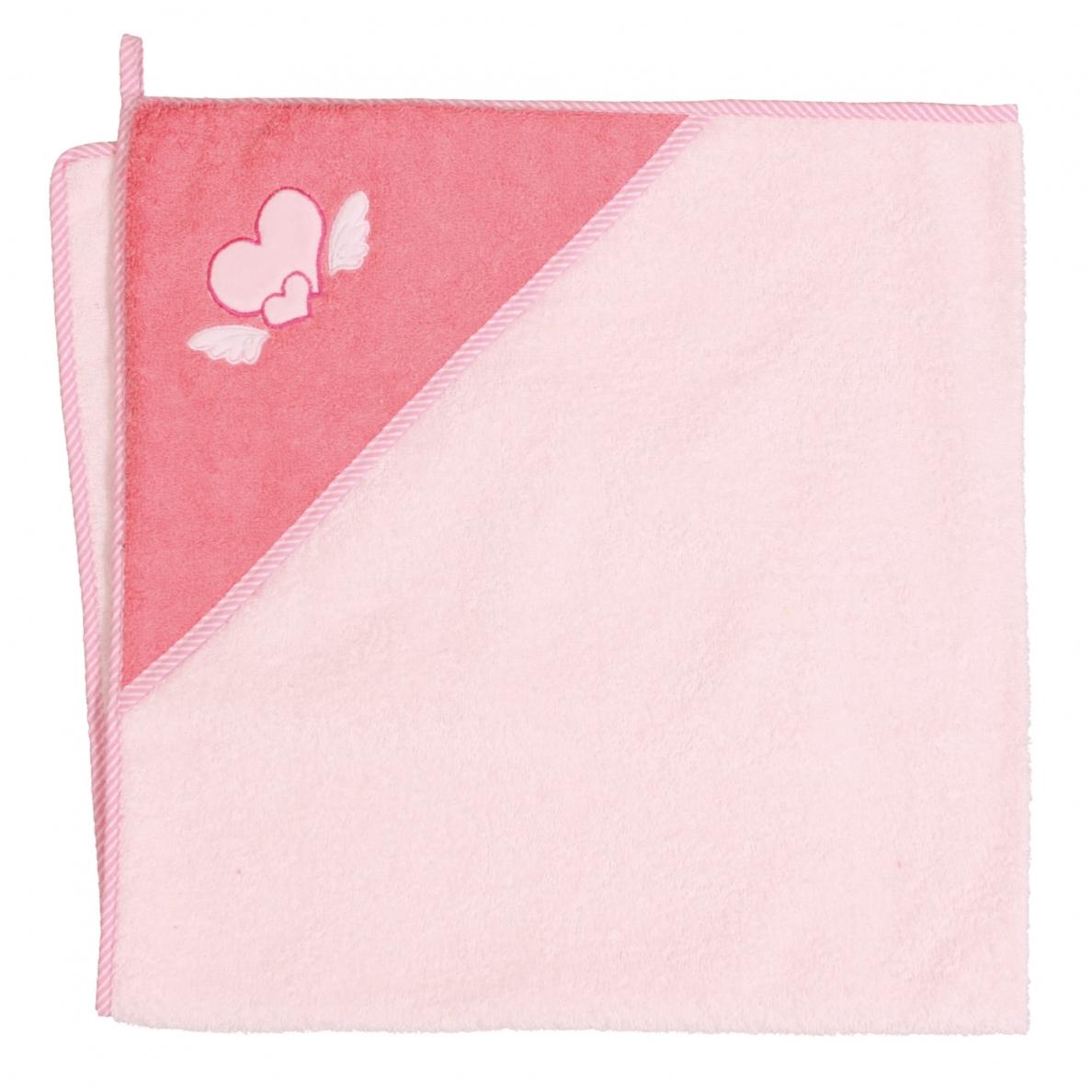 Cebababy rankšluostis su gobtuvu 100x100 rožinis-širdutės