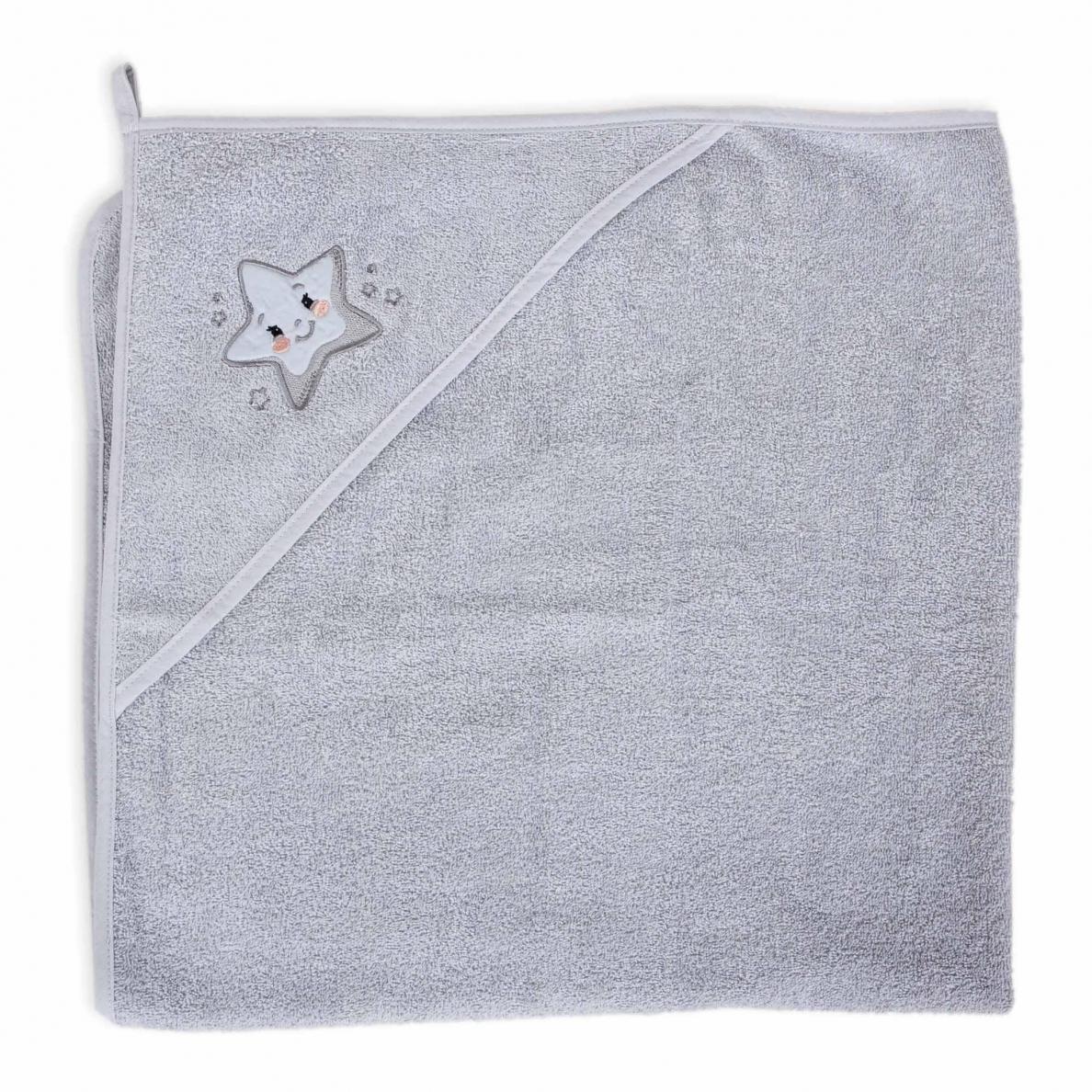 Cebababy rankšluostis su gobtuvu 100x100 pilkas-žvaigždė