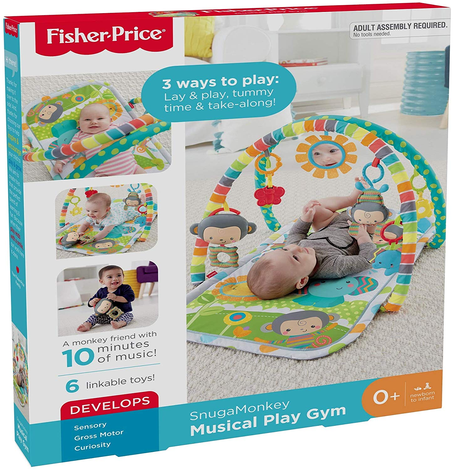 Fisher Price lavinamasis kilimėlis Snuga Monkey Musical Play Gym CLJ42