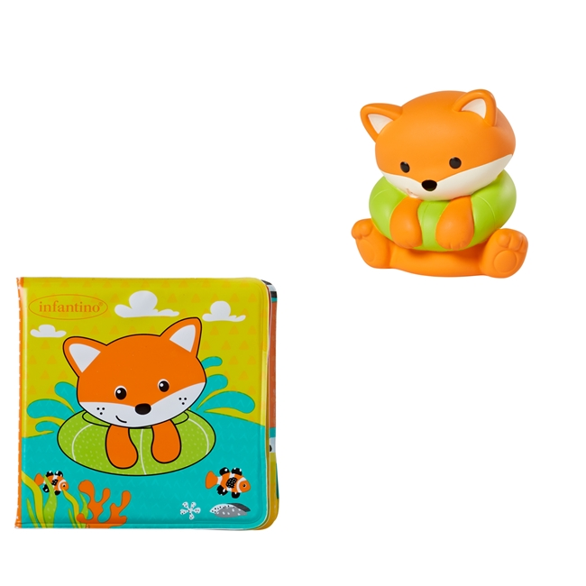 Infantino vonios knygutė su žaisliuku Bath Book with Roto Squirter
