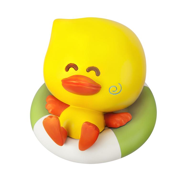 Infantino žaisliukas reaguojantis į karštą vandenį - vandens termometras
