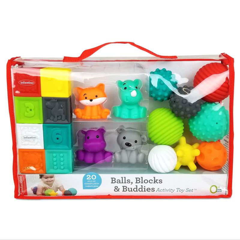 Infantino lavinamųjų žaislų rinkinys (20 vnt)  Sensory Balls, Blocks & Buddies