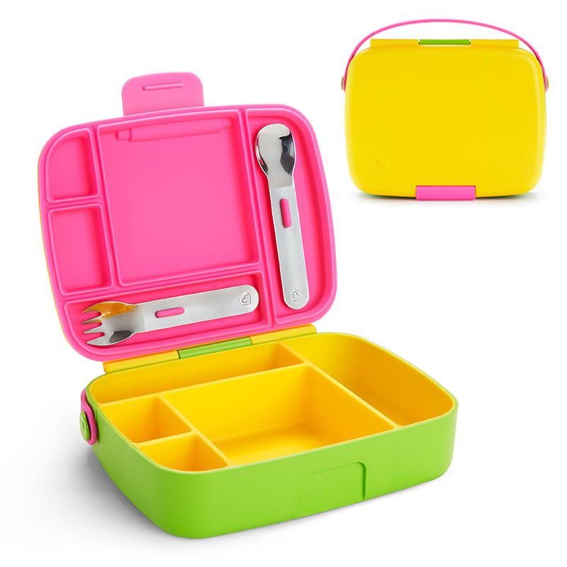 Munchkin  pietų dėžutė su įrankiais Bento Box ŽALIA/GELTONA