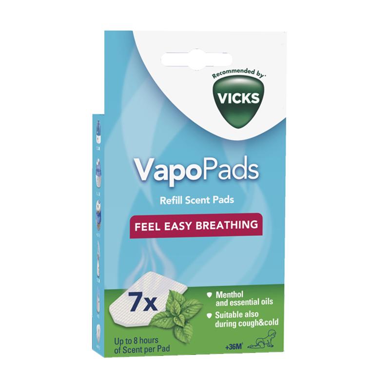 Vicks aromatizuoti padeliai inhaliatoriui ir oro drėkintuvui MENTHOL, 7 vnt