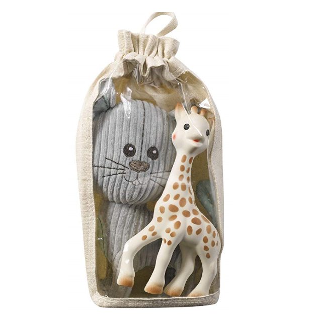 VULLI žirafa Sofie la Girafe su katinu